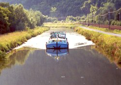 Travel on navigable rivers and waterways in Franche Comte France