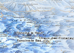 Jura mountains ski map, Foncine le Haut