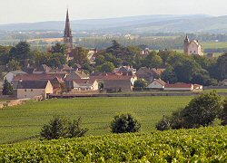 Village of Meursault in Burgundy wine region of France