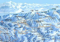 Clickable Ski Resots Map, Skiable area of the Jura mountains map